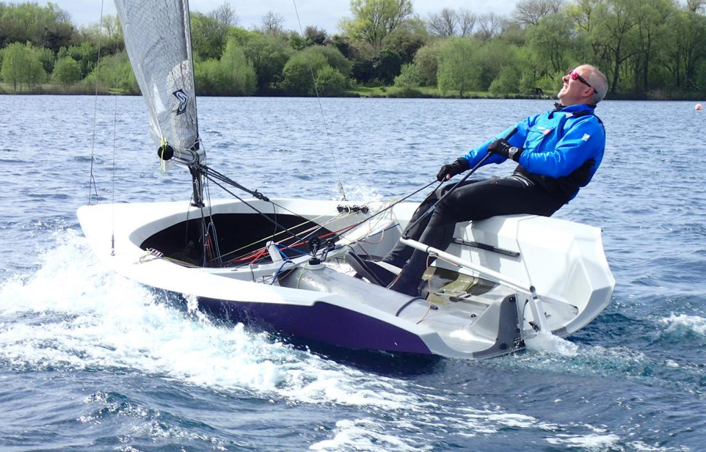 Richard Leftley sails the Hadron H2 at South Cerney SC. Photo copyright Dave Whittle.
